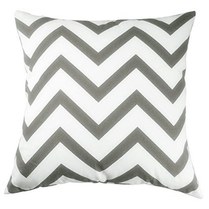 TAOSON Chevron Cushin Cover Pillow Cover Pillowcase Zig Zag Cotton Canvas Pillow Sofa Throw White Printed Linen with Hidden Zipper Closure Only Cover No Insert 18x18 Inch 45x45cm Dark Grey/Gary