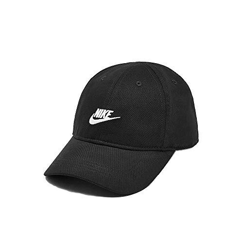 Nike Youth Unisex Black Cap (Black with Embroidered White Signature Swoosh Logo, 4/7-Toddler)