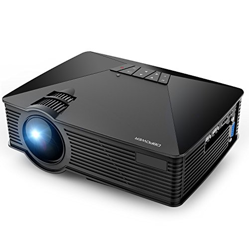 Projector, DBPOWER GP15 Mini Projector, 20000Hours LED +50% Lumens Video Projector with 120'' Display, Support 1080P, Compatible with Amazon Fire TV Stick, HDMI, VGA, AV, SD for Home Theater, Black