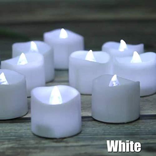 LED Kerzen 12 Stück Teelichter mit Timer 6 Stunden an 18 Stunden aus flackernde flammenlose Kerzen mit 100 Rosenblättern, kaltweiß