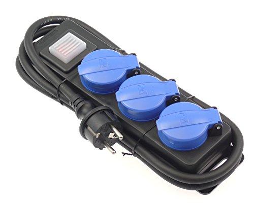 Steckdosenleiste Mehrfachstecker Schalter IP44 für Aussen mit Klappdeckel 3-fach mit 1,5m