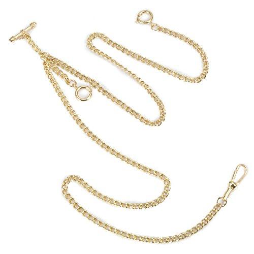 ManChDa Einzigartige Gold Doppel Albert T-Bar Taschenuhr Kette 16 Zoll mit 3 Haken für Männer