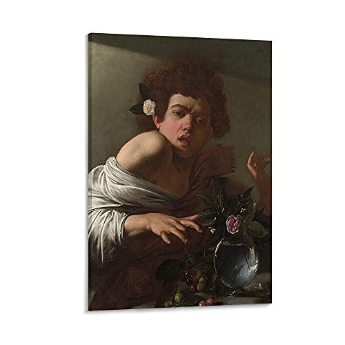 Lienzo para sala de estar, Caravaggio Michelangelo Merisi da Boy mordido por un lagarto, lienzo para dormitorio, decoración de pared de sala de estar y decoración del hogar. 45,7 x 60,9 cm sin marco