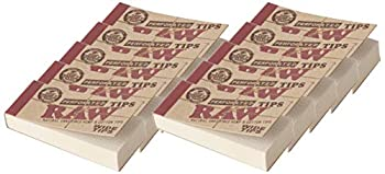 Raw Rolling Papers Perforated Wide Cotton Filter Tips 10 Pack = 500 Tips 50 Count  Pack of 10