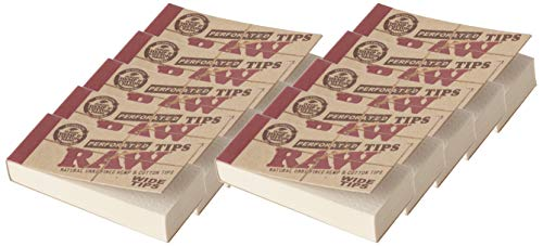 Raw Rolling Papers Perforated Wide Cotton Filter Tips 10 Pack = 500 Tips, 50 Count (Pack of 10)