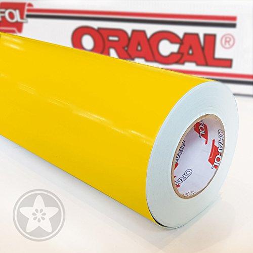 hauptsachebeklebt Oracal 621 Folie 021 - Gelb Klebefolie - 5m x 63cm - Orafol - Möbelfolie - Plotterfolie- selbstklebend