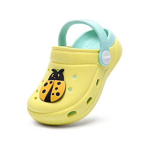 Zuecos Unisex Niños Lindo Sandalias de Playa y Piscina Infantil Niña Niño Antideslizante Zapatillas Verano Zapatos de Jardín Agua (Amarillo 01,Taille 29-30 EU)