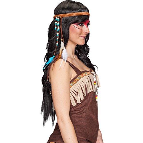 Amakando Indianer Kopfschmuck Western Kopfband Indianerin Haarband Feder Stirnband Karnevalskostüme Zubehör Indianerkostüm Accessoire Pocahontas Haarschmuck