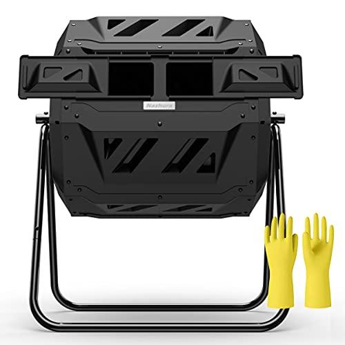 Compost Tumbler Bin Composter Dual Chamber 43 Gallon