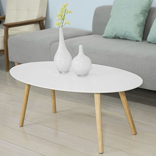 Haotian FBT61-W, Oval Wooden Coffee Table Living Room Table