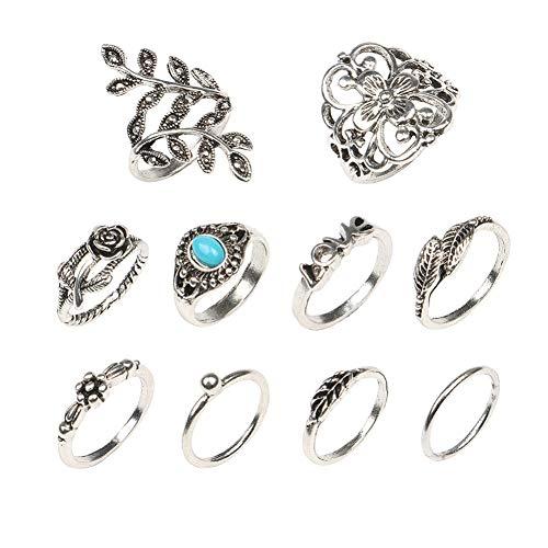 yongqxxkj Modeschmuck Ringe, 10Pcs Frauen Retro Rose Geschnitzte Faux Turquoise Stacking-Finger-Ring Schmuck-Geschenk - Antik Silber 10pcs