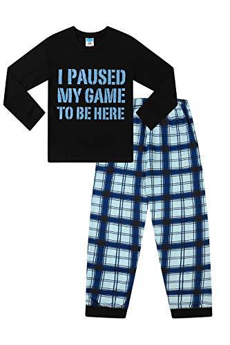 Langer Schlafanzug mit Aufschrift 'I Paused My Game to Be Here', Grau / Schwarz Gr....