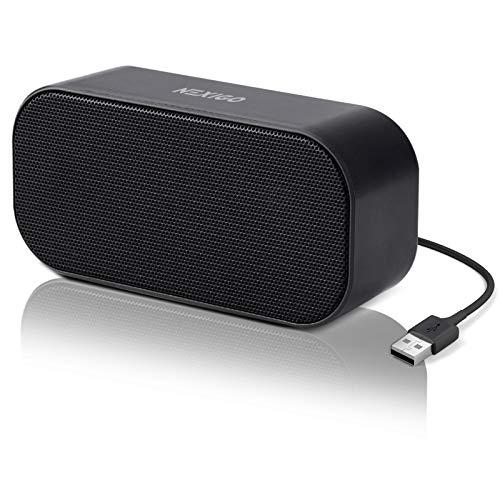 NexiGo [2021] Altavoz USB para computadora, decodificador de audio USB con sonido estéreo y graves mejorados, mini altavoces portátiles para ordenador, portátil, tableta, consola de juegos, color negro