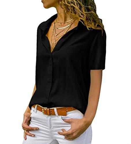 Damen Chiffon Kurzarm Blusen V Ausschnitt Mode T-Shirt Oberteile Elegant Hemd Top Einfarbig Kurzarm Bluse Casual Mode Knopf T-Shirt Tunika (XL, BK)