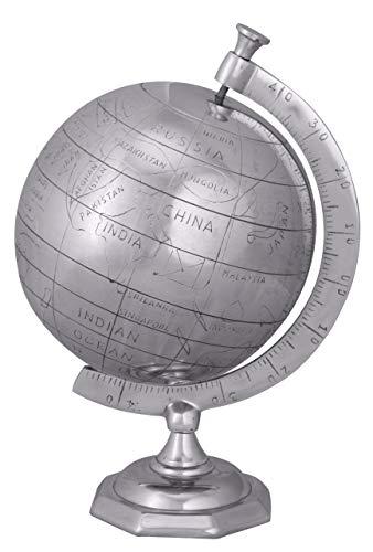 Wohnling, Mappamondo in Alluminio, 22 cm, Argento