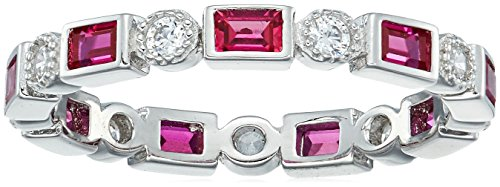 Platinum-Plated Sterling Silver Created Ruby All-Around Band Ring set with Swarovski Zirconia Accents, Size 6