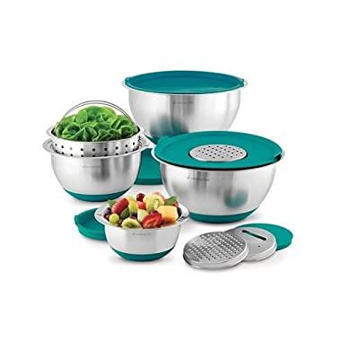 Wolfgang Puck Stainless-Steel Mixing Bowls with Lids, 12-Piece Set, Teal