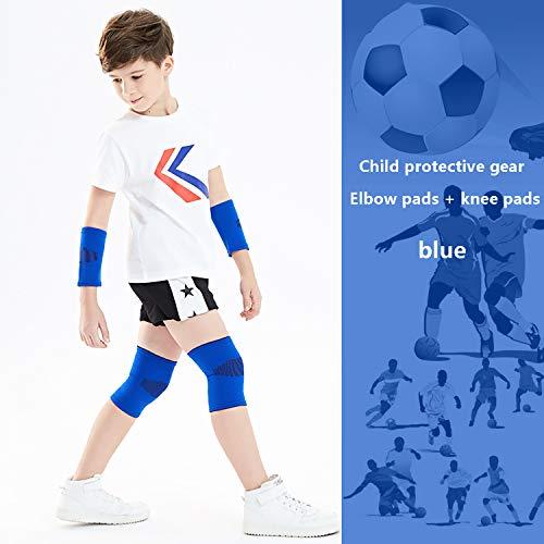 EODPOT Kinder Knieschützer und Ellbogenschützer Anzug, geeignet für Basketball und Fußball, Kinder Schutzausrüstung Set Weiche verstellbare Ellbogenschützer Knieschützer Jungen/Mädchen-Blue-S