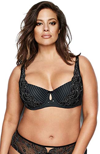 Ashley Graham Diva Demi Bra (Black, 42D)
