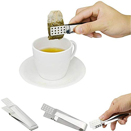 Teebeutel Tong, Edelstahl Teebeutel Squeezer Halter Mini Lebensmittel Clip Heat Resistant Clamp Metall Home Küche Bar Werkzeuge