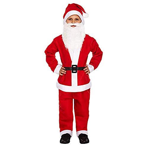 STRTT Disfraces De Papá Noel Niño para Navidad Traje De Cosplay para Adultos 5 Piezas con Sombrero Barba Ropa Pantalones Cinturónapto 7-9 Años De Edad