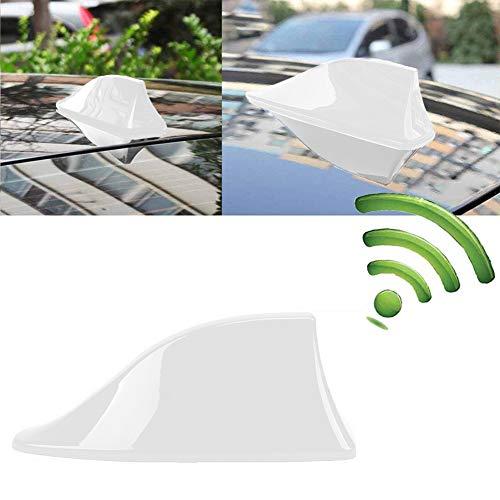 INTVN Aleta de coche - Antena Universal para Coche, Antena de Aleta de Tiburón, Señal de Radio Universal para Auto SUV Camión Van Roof Tail Antena Modificada, Blanco