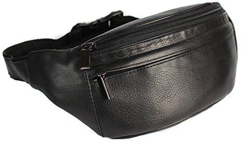 Große Christian Wippermann Bauchtasche / Hüfttasche / Herrentasche mit viel Platz aus bestem Rindleder, Schwarz