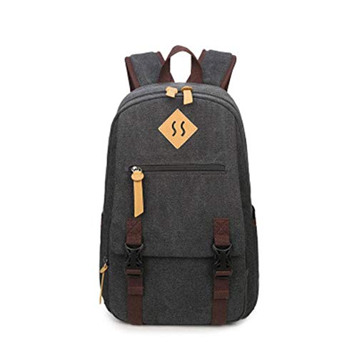 Travel Laptop Backpack Black Canvas Leisure Fits Laptop15*44 * 29cm