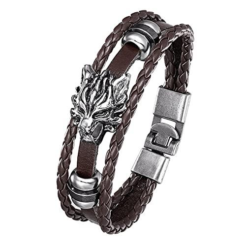Pulsera tejida moda vintage pulsera hombre dragón cabeza patrón tres capas tejido estilo no principal cuerda de mano trenzada