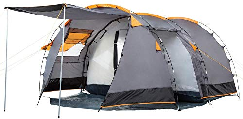 smilecstar Tunnel tent for 4 people Large family tent with 2 entrances and 3,000 mm water column Group tent | gray | Camping tent-grade-A29