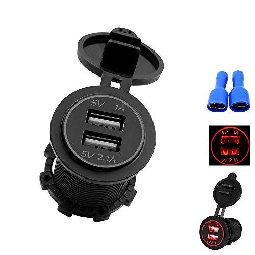 ONEVER Car USB Chargeur 1A 2.1A LED Tension Panneau Compteur Phone Tablet Chargeur Prise pour Auto Camion VTT Bateau de Moto