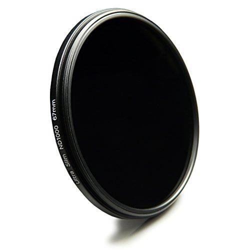 Neutral Slim Graufilter 67mm ND1000 kompatibel mit Canon EOS 40D, 5D Mark III, 60D, 7D, EOS 1D X, Nikon D5100, D5300, D7000, D7100 + High-Tech Microfaser Reinigungstuch