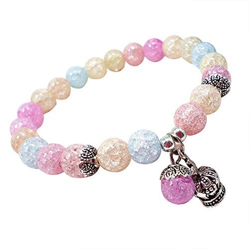 Daliuing - Pulsera de cuentas para mujer, elástica, brillante, cadena de mano, con cuentas de aleación vintage, colgante de yoga, pulsera de equilibrio (colorido)