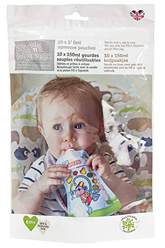 Fill'n Squeeze, Paquete de Relleno de Bolsas de Alimentos Resellables Reusables para Destete de bebés y Alimentación de niños, 10 x 150 ml