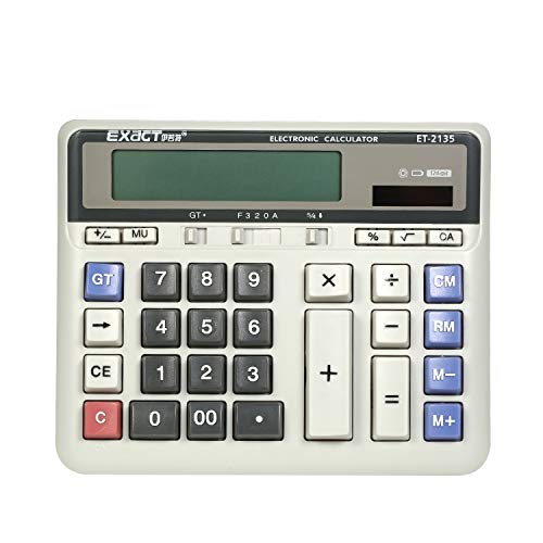 Large Computer Electronic Calculator Counter Solar & Battery Power 12 Digit Display Multi-Functional Big Button for Business Office School Calculating
