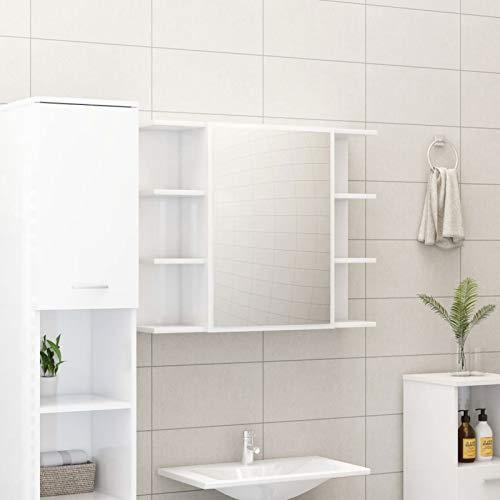Irfora Spiegelschrank Bad Badspiegel mit Ablage Wandschrank Badspiegelschrank Hängespigel Badezimmerspiegel Spiegel Hängeschrank Badezimmer, 80x20,5x64 cm Hochglanz-Weiß