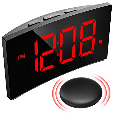 PICTEK Wireless Bed Shaker Alarm Clock for Heavy Sleepers, Vibrating Alarm Clock for The Deaf, 3 Alarm Sounds, 6 Dimmer, Loud Digital Clock for Kids Bedroom and Hearing Impaired, Clear Red Display