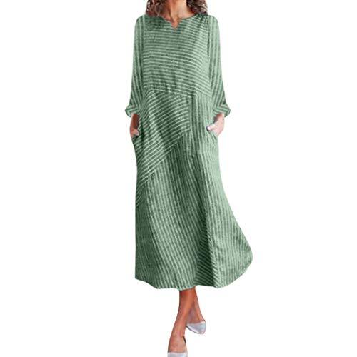 Purchase FEDULK Womens Striped Dress Linen Long Sleeve O/V Neck Comfort Fit Loose Casual Long Dress ...