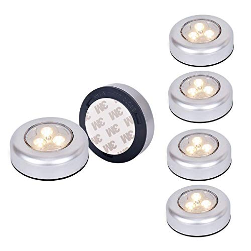 [New Version]Ledinus 6 Pack Warm Battery-Powered Touch Induction Lamp LED Night Light Stick-Anywhere Indoors,Great for Hallway, Closet, Stairs, Bedroom, Kitchen, Nursery