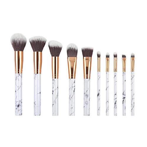 Ensemble de brosse de maquillage, 10pcs texture de marbre brosses cosmétiques pour la Fondation lâche poudre blush ombre à paupières Concealer, fibre synthétique poils avec sac en cuir PU,Blanc