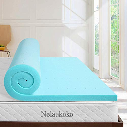 Nelaukoko 2 Inch Memory Foam Mattress Topper Queen Mattress Pad, Ventilated Gel Bed Foam Topper - Queen