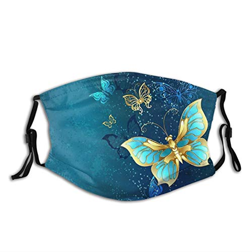Golden Butterflies On A Blue Background Mask Face Mask Scarf, Reusable & Washable Adjustable Bandanas With 2 Filters, For Anti Dust Outdoor