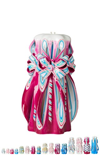 Ner Mitzvah Handmade Carved Havdalah Candle - Self Standing, Hand Crafted - Shabbat Host, Hostess and Judaica Gift - Dark Pink Twist Tie - 8
