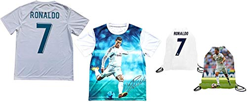 Sport Fans Edge Ronaldo Jersey Style T-Shirt Kids Cristiano Ronaldo Jersey Picture T-Shirt Gift Set Youth Sizes ✓ Premium Quality ✓ ✓ Soccer Backpack Gift Packaging (YL 10-13 Years Old, Ronaldo)