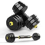 LZL Mancuernas 10-44lbs Ajustable con Mancuernas Pesas de Peso Set Home Fitness Gym Barra de Inicio Placas de carrocería del músculo Entrenamiento Pesa