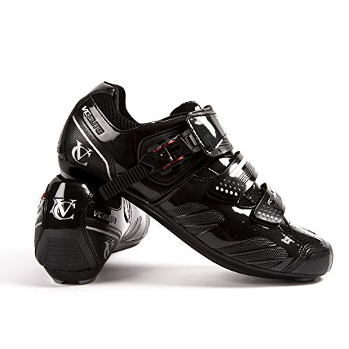 VeloChampion Zapatillas de Ciclismo Elite Road (par) Cycling Road Shoes Black/Silver 43