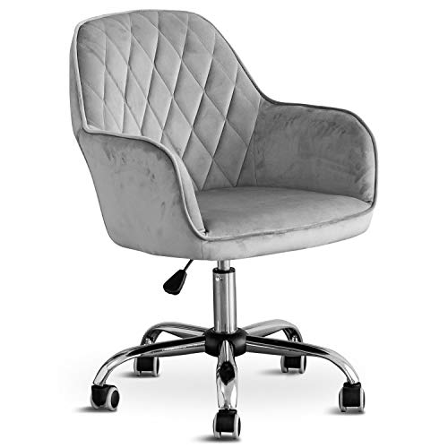 Home Office Swivel Velvet Chair Computer Chair, Ergonomic Mid-Back Comfortable Executive Accent Chair with Arms for Living Room, Bedroom, Adjustable Height for Study Room, Bedroom and Vanity (Grey)