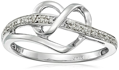 Sterling Silver Diamond Accent Heart Ring, Size 7