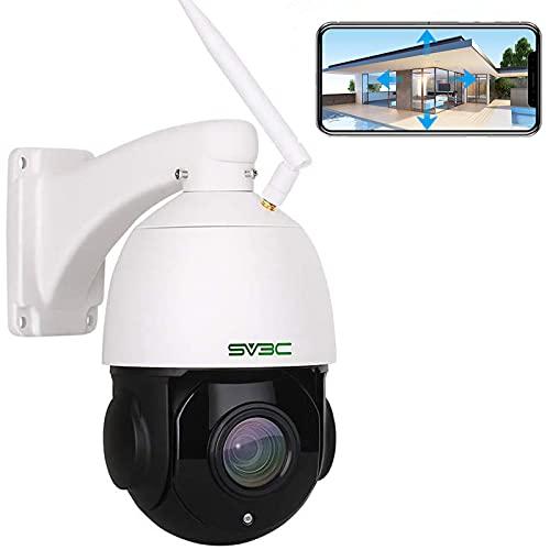 SV3C 5MP PTZ Überwachungskamera Aussen, 20x Fach Optischer Zoom Outdoor WLAN IP Kamera, Wasserdichter Sicherheitskamera für Außen mit Zwei-Wege-Audio, 60m IR-Nachtsicht, Bewegungserkennung