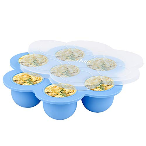 Hhyn Silicone Egg Bites Molds Compatible with Instant Pot Accessories - Fits 5, 6, 8 qt Pressure Cooker, Reusable Food Storage Container and Freezer Tray with Lid Sous Vide Egg Poache, Blue